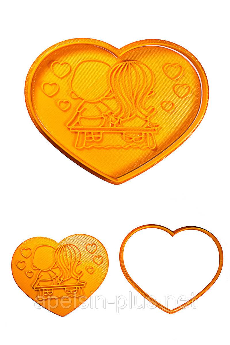 """Вырубка с оттиском для имбирных пряников и печенья """"Сердце с любовью"""" 12 см"""