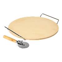 Камень для пиццы с ручкой и ножиком, круглый, 33 см, BROWIN Польша