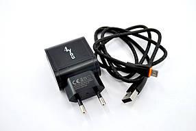 Зарядное устройство 4you A22 (2100mAh100%, 2 USB, Led) black + Micro USB (Snake)