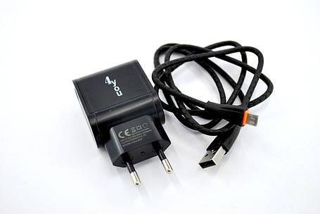 Зарядное устройство 4you A22 (2100mAh - 100%, 2 USB, Led, Exclusive design) black + Micro USB (Snake), фото 2