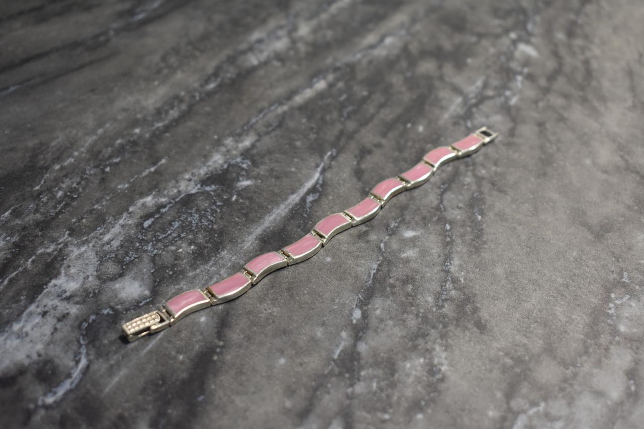 Серебряный браслет с камнем Розовый Агат