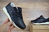 Мужские кроссовки в стиле Reebok Hexalite кожа черные на бежевой подошве , фото 1