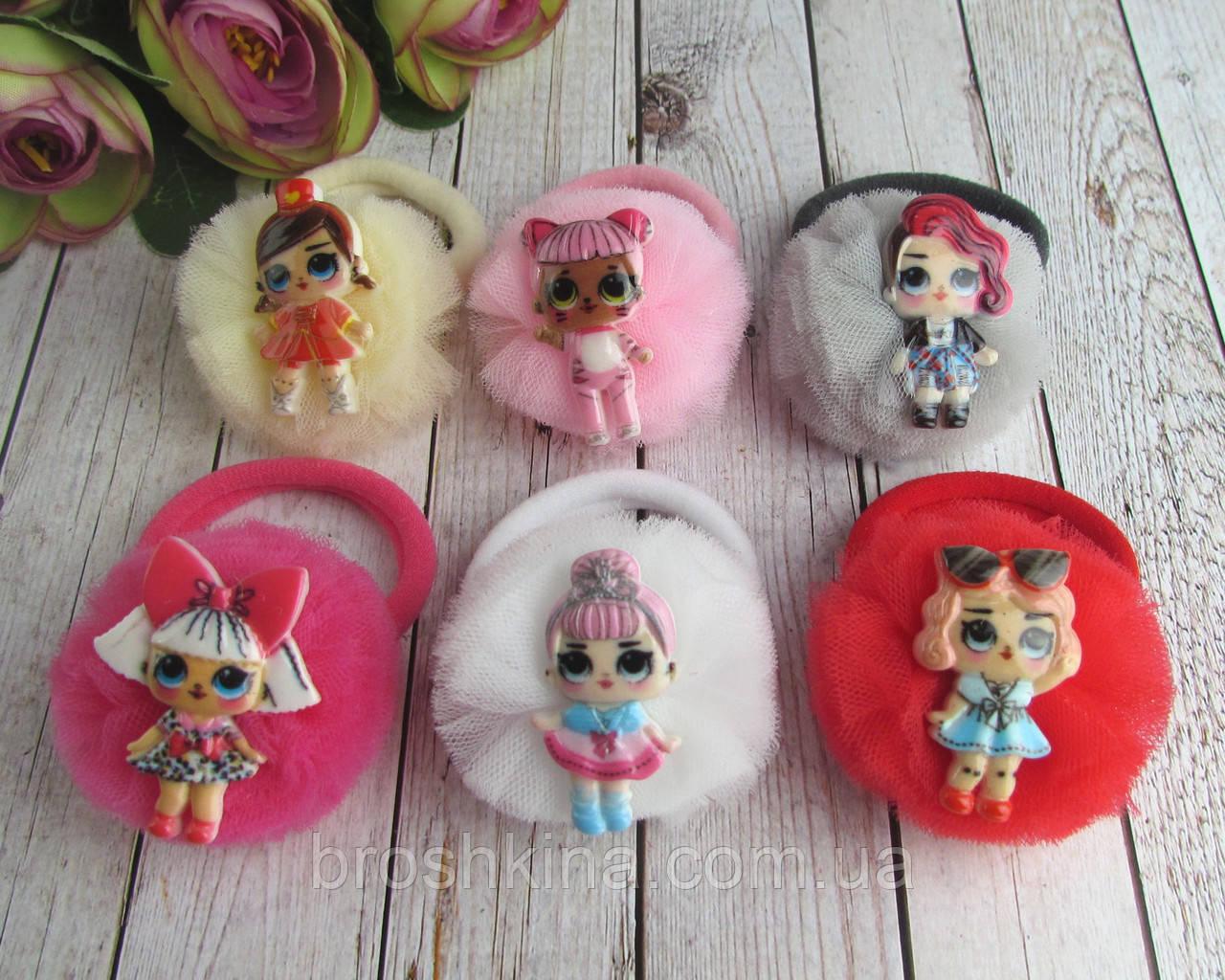 Резинки для волос фатиновые шарики с куклами LOL 12 шт/уп.