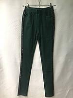 Джеггинсы женские норма, с блестящей пайеткой, размеры 25-30, зеленые, фото 1