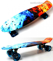 """Скейтборд Penny Board """"Fire and ice"""" Светящиеся колеса., фото 1"""