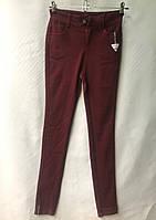 Джеггинсы женские норма, под ремень с нашивками, размеры 25-30, бордовые, фото 1