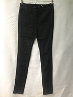 Джеггинсы женские норма, под ремень рваные, размеры 25-30, черные, фото 1