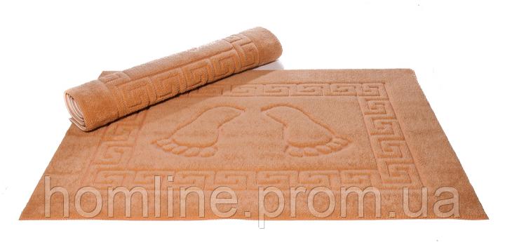 Махровый коврик для ванной прорезиненный Lotus 45*65 бежевый