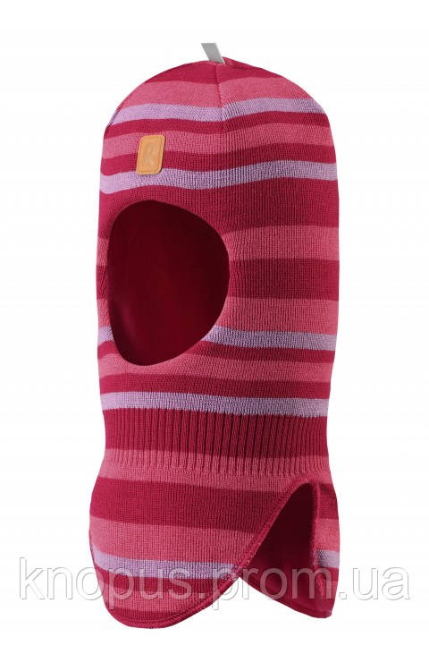 Зимняя вязаная  полушерстяная  шапка-шлем для девочки в полоску Simo, Размер 46-54, Reima