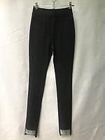 Джеггинсы женские норма, размеры 25-30, черные с серебряным отворотом, фото 1
