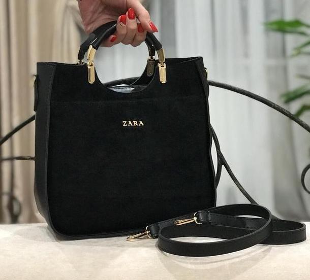 60b1b47998ad Черная замшевая женская сумка Zara, цена 580 грн., купить в Киеве ...