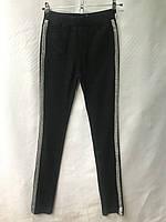 Джеггинсы женские норма, размеры 25-30, черные с серебряными лампасами, фото 1