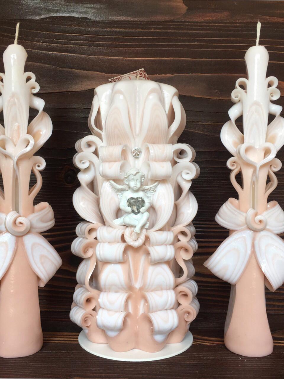 Набор свечей для свадьбы, центральная свеча большая восьмигранная и две тонкие свечи для родителей