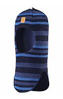 Зимняя детская вязаная   шапка-шлем темно-синяя в полоску Simo, Размер 46-54, Reima