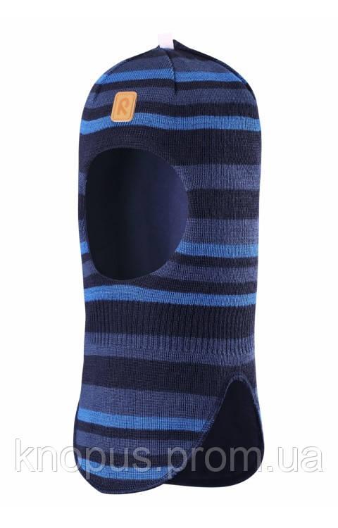 Зимняя детская вязаная   шапка-шлем темно-синяя в полоску Simo, Размер 46, Reima