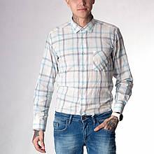 Мужская рубашка в клетку 1266001 голубая