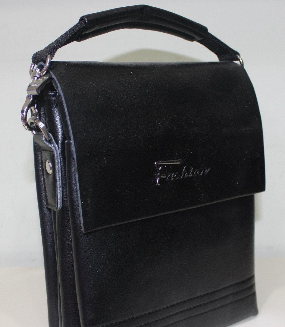 9f8eca6385cb Сумка Fashion 18-88819-1 мужская черная стильная из искусственной кожи с  ремнем на плечо 21х16х5см