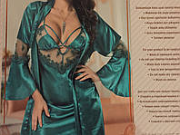 Атласный модный, красивый халат и пеньюар в размерах s,m,l,xl