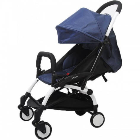 YOYA 175А+ темно-синий цвет Детская коляска, рама белая, фото 2