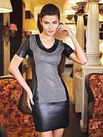 Женское обтягивающее платье со вставками велюр и кожа