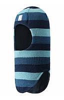 Зимняя детская вязаная   шерстяная шапка-шлем темно-голубая   полоску Starrie , Размер 46-52 Reima