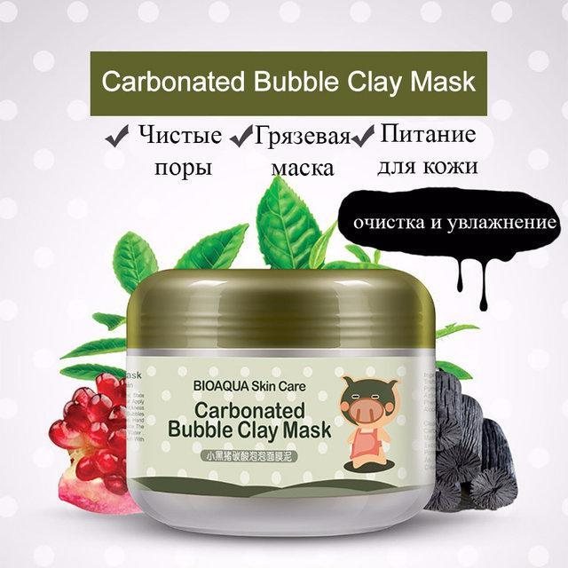 Очищающая кислородная (карбонатная) маска Bioaqua Carbonated Bubble Clay 100g, фото 1