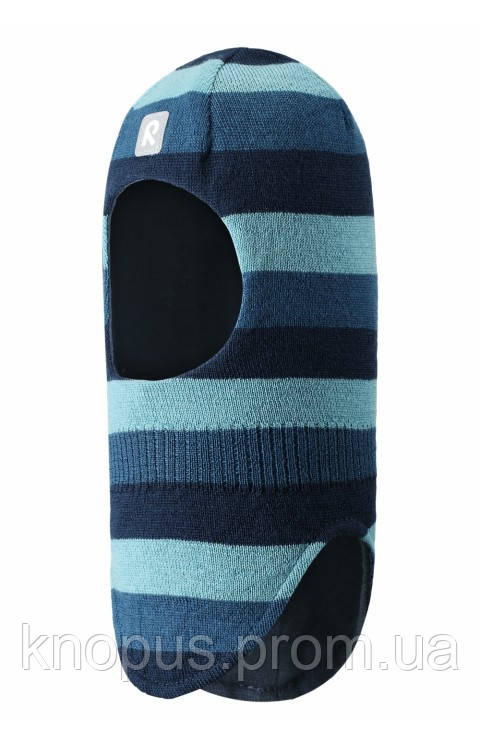 Зимняя детская вязаная  шерстяная шапка-шлем темно-голубая в полоску Starrie o, Размер 46-52, Reima