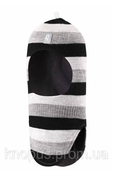 Зимняя детская вязаная  шерстяная шапка-шлем черно-серая в полоску Starrie o, Размер 46-54, Reima