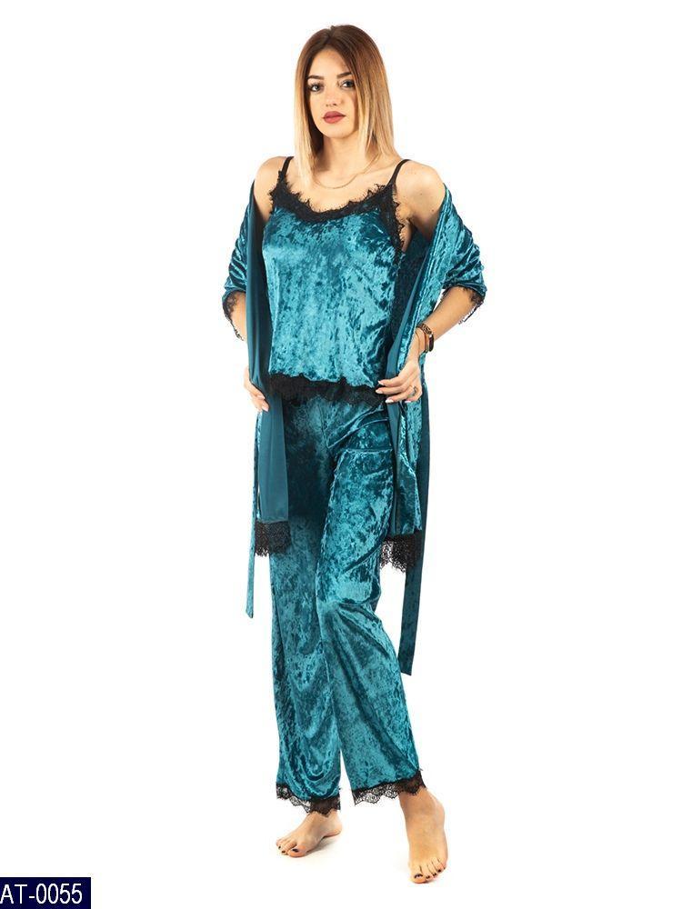 Домашняя красивая пижама тройка бархат  42 44 46 48  размер есть цвета