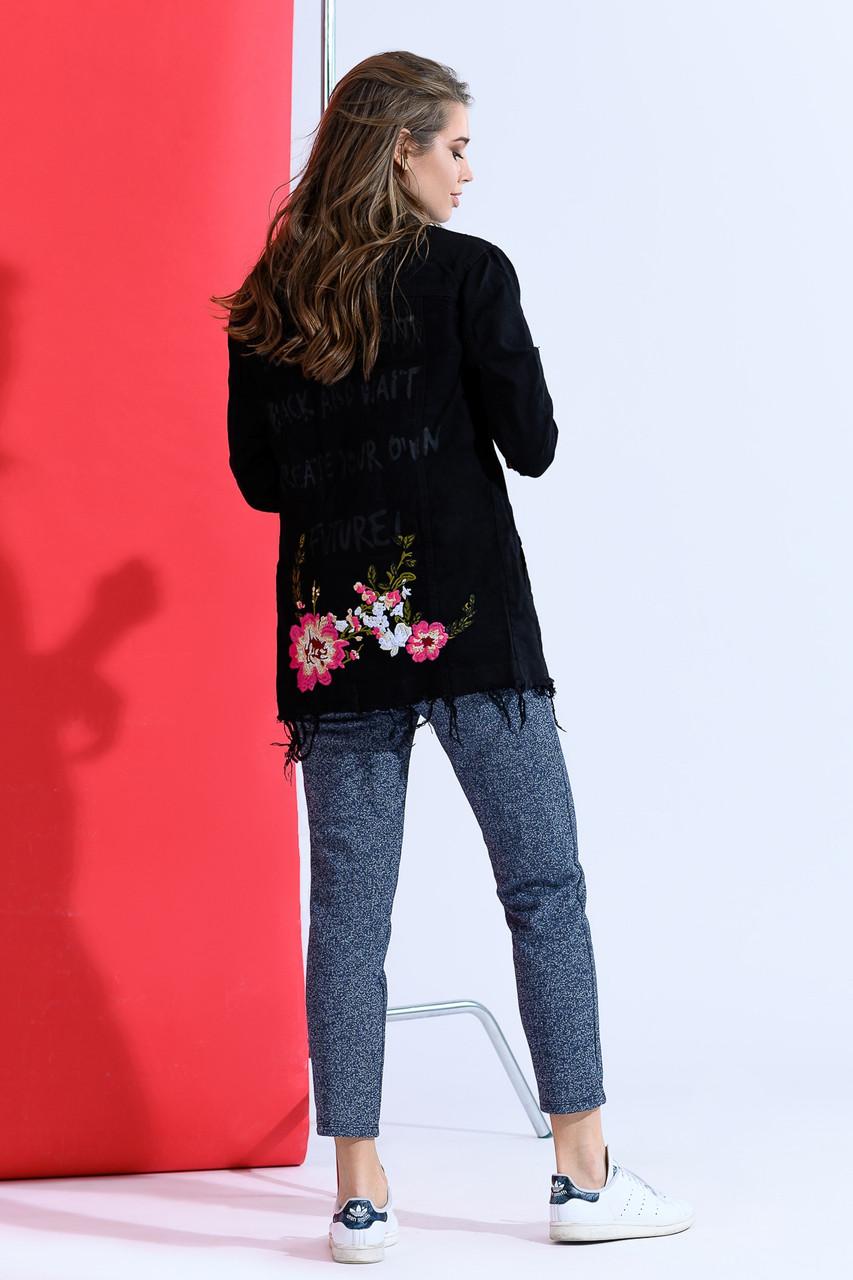 Удлиненная женская джинсовая куртка дг ат1826