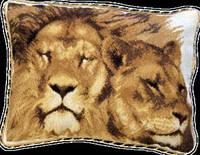 Набор для вышивки «Подушка семья львов»