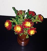 Букет с цветами из бисера в вазе, необычный подарок девушке (женщине) на день рождение