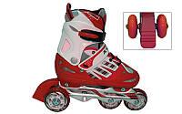 Роликовые коньки раздвижные детские  F1-F1-R (р-р M-34-37,  PL,  алюм. рама, изменен. полож. колес, красный )