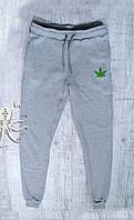 """Мужские спортивные весенние штаны, чоловічі штани """"марихуана"""", конопля (серый)"""