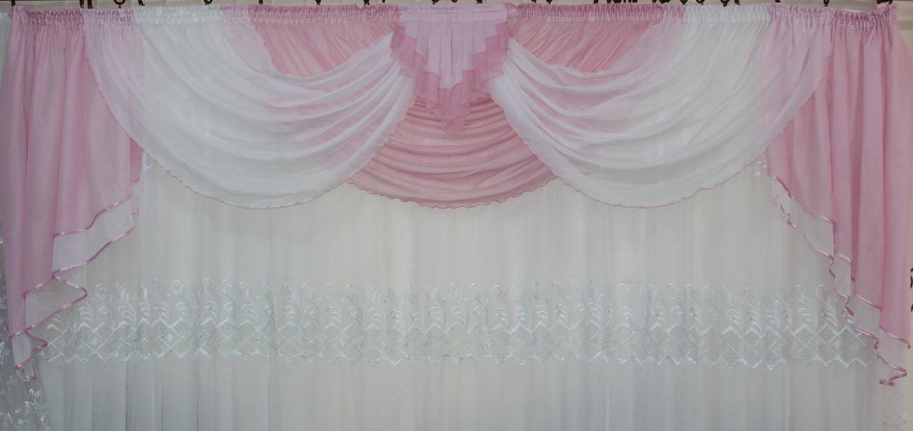 Ламбрекен на карниз 2.5м. №4 Розовый