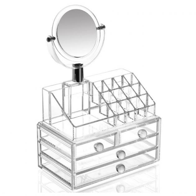 Органайзер для хранения косметики SUNROZ с зеркалом для макияжа