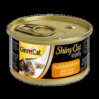 Консервы Gimpet Shiny Cat Tuna Chiken для кошек с кусочками тунца и цыпленка, 70 г