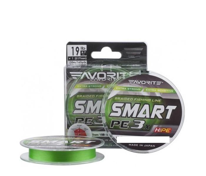 Шнур Favorite Smart PE 3* 150м (l.green) #0.4/0.104mm 7.5lb/3.5kg
