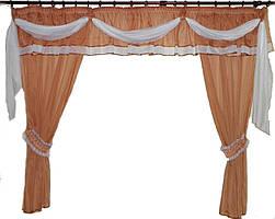 Ламбрекен №6 + шторы из шифона.  Цвет кофейный