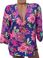 Женские блузы с цветочным принтом (в расцветках)
