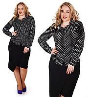 """Стильная женская блуза-рубашка в больших размерах """"Штапель Горох"""""""