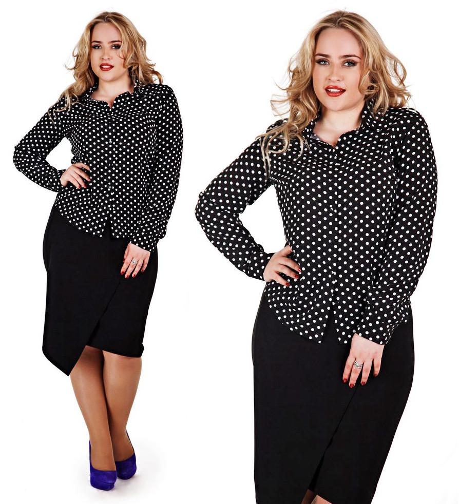 """Стильная женская блуза-рубашка в больших размерах """"Штапель Горох"""" - """"Пальмира"""" - прямой поставщик модной одежды оптом и в розницу от производителя в Одессе"""