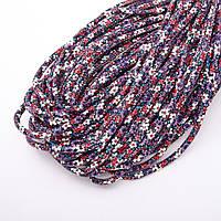 Шнур для изготовления украшений фиолетовый цветочный принт d-5мм цена за 1метр