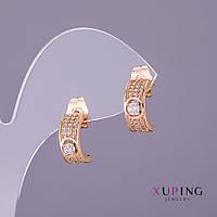 Серьги Xuping гвоздики белые камни d-5мм L-13мм цвет золото