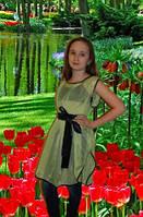 Нарядная летняя туника для девочки зеленая. Оригинальный подарок