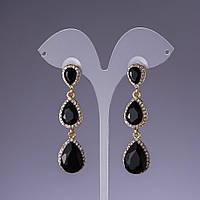 Серьги с черными кристаллами L-6см желтый металл