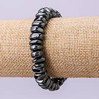 Браслет из натурального камня Гематит галтовка d- 10х6мм обхват 18см на резинке