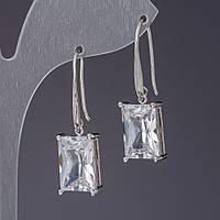 Серьги с белыми кристаллами L-3см