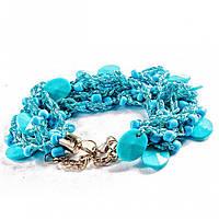 Браслет металл замок карабин на цепочке нить макраме голубая блестящая граненные камни голубые овальные