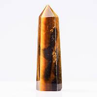 """Кристалл многогранник """"карандаш"""" сувенир натуральный каменьТигровый глазh-10см (+-) d-3,5см(+-)"""